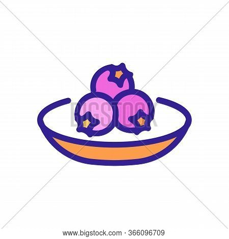 Side View Of Hawthorn Berries On Plate Icon Vector. Side View Of Hawthorn Berries On Plate Sign. Col