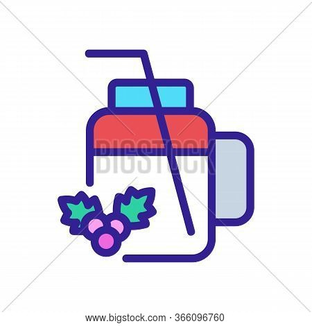 Cup Mug For Hawthorn Juice With Straw Icon Vector. Cup Mug For Hawthorn Juice With Straw Sign. Color
