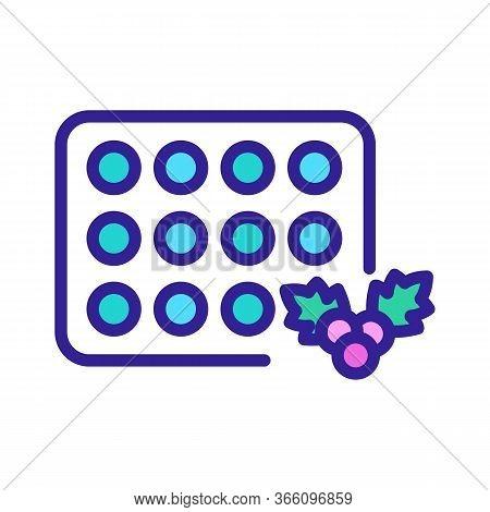Hawthorn Pills Plate Icon Vector. Hawthorn Pills Plate Sign. Color Symbol Illustration