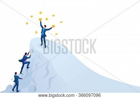 Isometric Achieve Success, To Achieve The Goal, To Be On Top Of The Mountain. Concept For Web Design