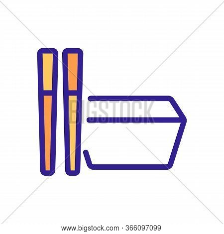 Rectangular Food Container With Cutlery Icon Vector. Rectangular Food Container With Cutlery Sign. C