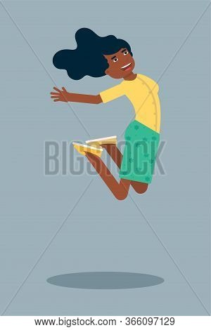 Happy Woman Jumping Flat Character. Cheerful Young Dark Skin Woman Isolated. Smiling Excited African
