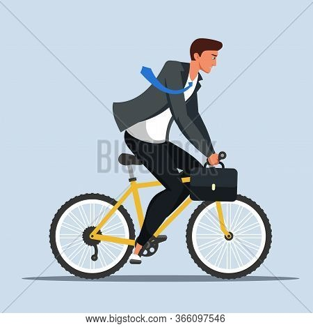 Businessman In Suit With Briefcase Rushing To Work On Bicycle Cartoon. Office Worker Male Character