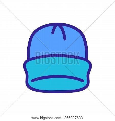 Plain Beanie With Lapel Icon Vector. Plain Beanie With Lapel Sign. Color Symbol Illustration