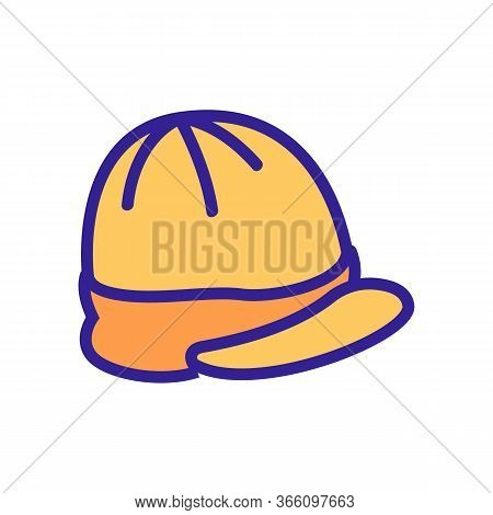 Cap With Visor Top View Icon Vector. Cap With Visor Top View Sign. Color Symbol Illustration