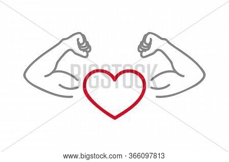 Healthy Lifestyle Strong Heart With Muscular Arms Vector Illustration Eps10