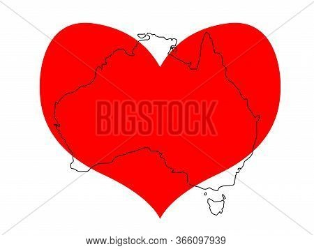 Save Australia Vector Illustration. Outline Continent Australia With A Red Heart Isolated On White B