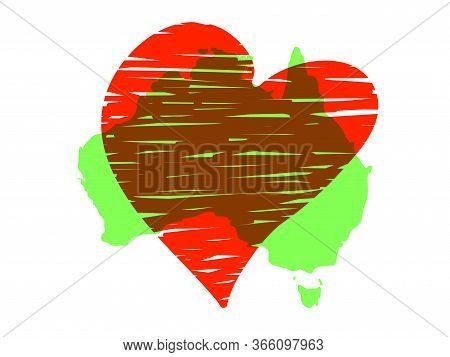 Save Australia Vector Illustration. Australia Continent Green Silhouette With Red Heart Isolated On