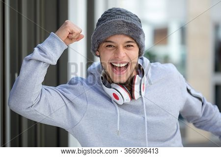 Successful Happy Young Latin Man Runner Jogger Sport Sports Cold Winter Joy Pleasure