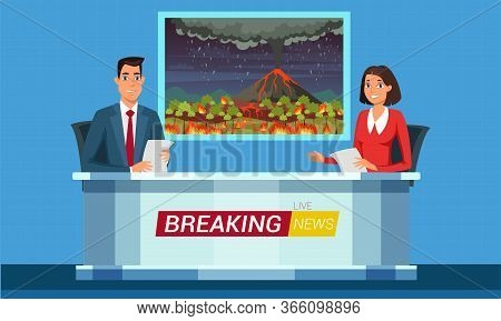 Live Breaking News Flat Illustration. Tv Studio Interior Vector Illustration. Television News Progra