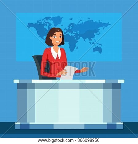 Tv Broadcasting Presenter Vector Illustration. Anchorwoman Flat Character. Announcer, Broadcaster Sp