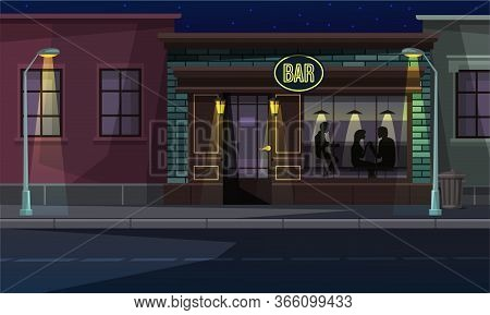 City Street With Lantern And Bar Entrance. Cartoon People Rest In Pub. View Through Window. Evening