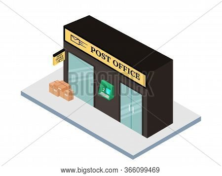 Post Office Flat Vector Illustration. Postal Station Isolated On White Background. Isometric Old Fas