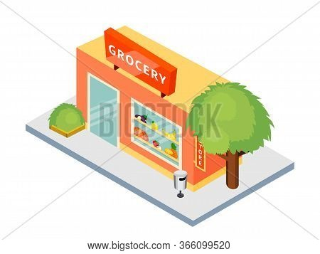Grocery Shop Isometric Flat Illustration. Eco, Organic Store Building Exterior. Vegetarian, Vegan Pr