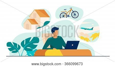 Man Sitting At Computer And Planning His Vacation. Office Worker Thinking About Country House, Trave
