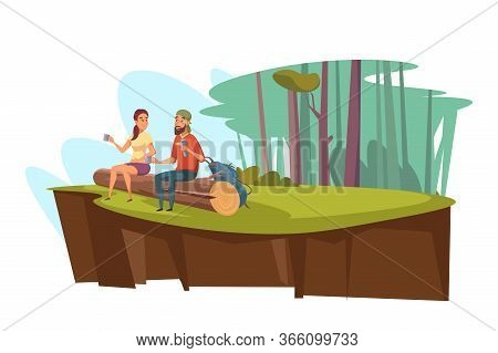 Picnic In Forest Flat Vector Illustration. Enamored Couple Cartoon Characters Sitting On Log. Woodla