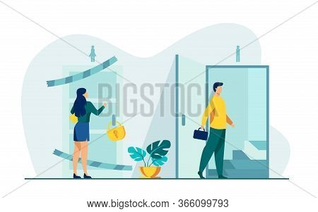 Woman Knocking To Locked And Closed Door Flat Vector Illustration. Man Entering Open Door And Walkin
