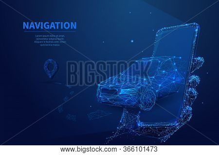 Polygonal 3d Car Leaving From The Smartphone. Gps Navigation, Location App Or Travelling Concept. Ca