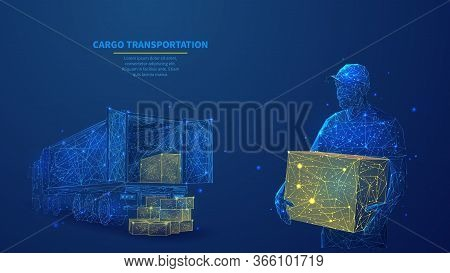 Delivery Man With Box Standing In Front Of Cargo Truck In Dark Blue. Polygonal Shipping Cargo Delive