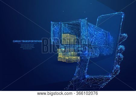 Polygonal 3d Truck, Parcels And Smartphone In Dark Blue Background. Online Cargo Delivery Service, L