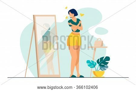 Narcissist Lady Standing At Mirror And Looking At Reflection Of Her Back. Young Woman Trying Shirt O