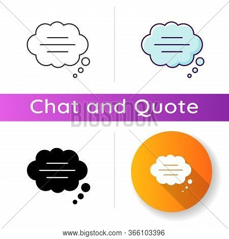 Thought Bubble Icon. Empty Comic Speech Cloud. Blank Dialogue Balloon With Text Space. Comment Box W