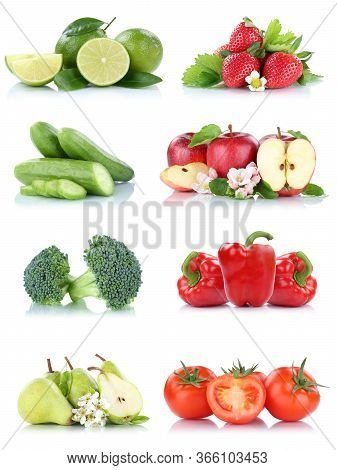 Fruits Vegetables Collection Isolated Apple Apples Tomatoes Strawberries Bell Pepper Colors Fresh Fr