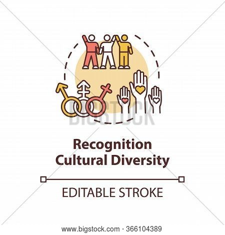 Cultural Diversity Recognition Concept Icon. Multi Racial Group. Gender Equality In Society. Multicu