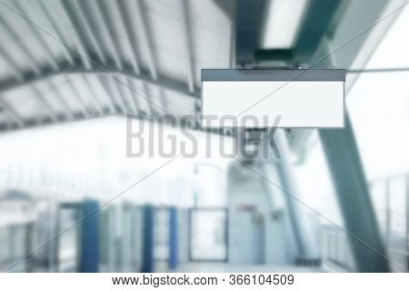 Blank Signboard And Billboard Displaying Advertisements In Subway Train Station. It Is Direction Sig