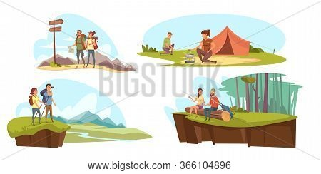 Camping Flat Vector Illustrations Set. Tourist Couples In Nature Cartoon Characters. Family Holiday