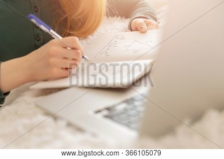 Girl Schoolboy Is Engaged In Online Math Lessons Computer In School Web Chat