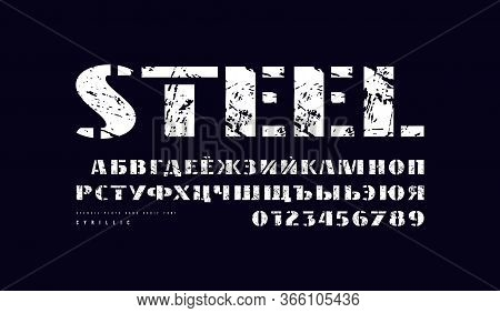 Cyrillic Stencil-plate Sans Serif Font In Military Style. Bold Face. Letters And Numbers With Vintag