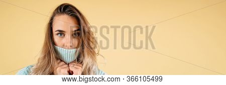 Surprised Excited Woman Covering Her Mouth With Blank Copyspace. Positive Human Emotion Facial Expre