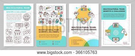 Multicultural Team Brochure Template. Benefit And Challenge. Flyer, Booklet, Leaflet Print, Cover De