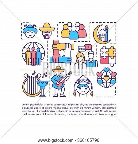 Multiculturalism Concept Icon With Text. Multiethnic Tradition. Multinational Historical Heritage. P