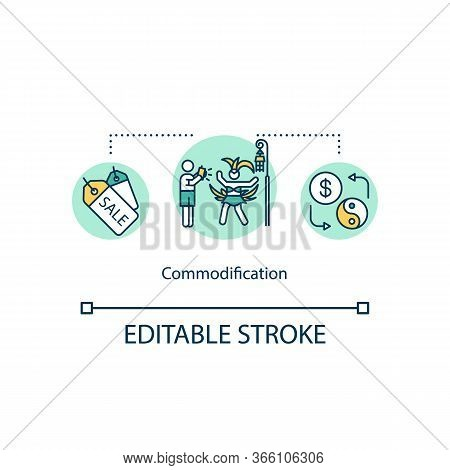 Commodification Concept Icon. Trade For Goods And Services. International Commodities. Cultural Exch
