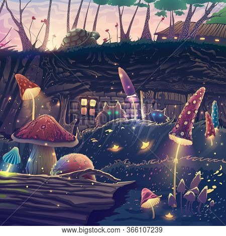 Summer Landscape With Beautiful Magic Forest, Mushrooms, Cats, Turtle, Fantasy Trees, Wild Animals,