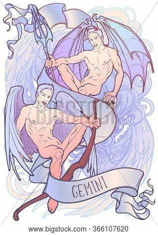 Zodiac Sign Of Gemini, Element Of Air. Intricate Linear Drawing On Watercolor Textured Background. S