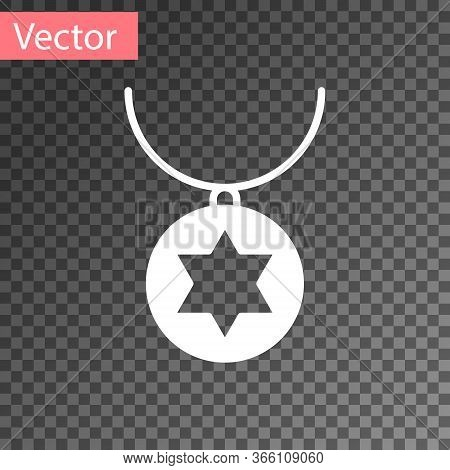 White Star Of David Necklace On Chain Icon Isolated On Transparent Background. Jewish Religion. Symb