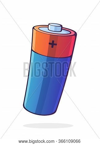 Vector Illustration. Alkaline Electric Battery. Power Technology. Energy Accumulator For Charging El