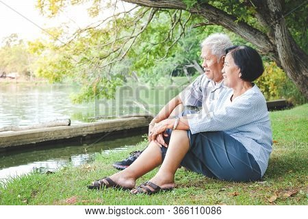 An Elderly Couple Hugging Each Other With Love And Happiness In A Park With A Large Pond. Senior Com