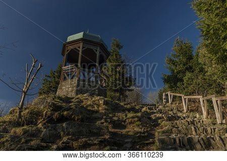 Old Historical Gazebo On Rock Near Pustevny In Beskydy Mountain In Morning