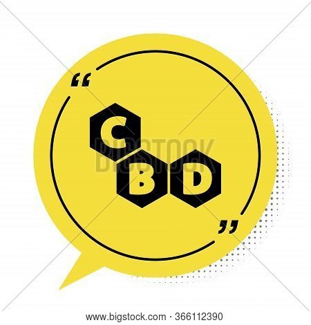 Black Cannabis Molecule Icon Isolated On White Background. Cannabidiol Molecular Structures, Thc And
