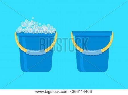Bucket. Plastic Bucket. Lather. Cleaning The House. Vector Illustration