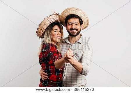 Brazilian Couple Wearing Traditional Clothes For Festa Junina - June Festival