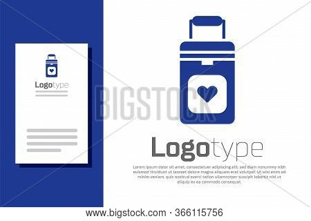Blue Cooler Box For Human Organs Transportation Icon Isolated On White Background. Organ Transplanta