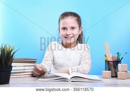 Back To School .happy Cute Industrious Child Is Sitting At A Desk Indoors. Kid Is Learning In Class.