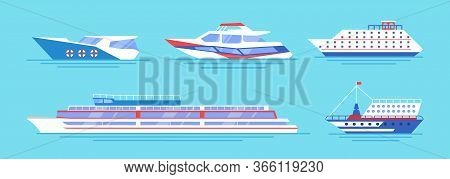 Sea Transport Flat Icon Collection. Cartoon Cruise Yachts, Sailboat And Motorboat Vector Illustratio