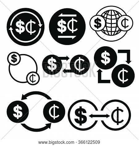 Black And White Money Convert Icon From Dollar To Cedi Vector Bundle Set