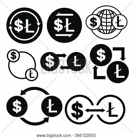 Black And White Money Convert Icon From Dollar To Litecoin Vector Bundle Set